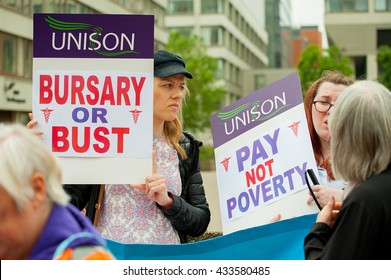London, UK. 4th June 2016. EDITORIAL - Bursary Or Bust rally.Protest march by healthcare professionals through London, in protest of government plans to axe the NHS Bursary to healthcare students.