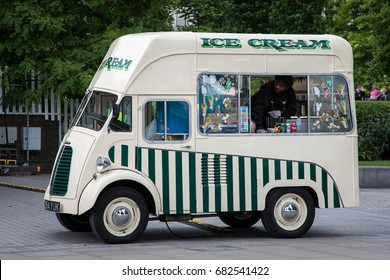 London, UK - 5 June 2017: Retro style ice cream and refreshments van on the South Bank, London, UK.