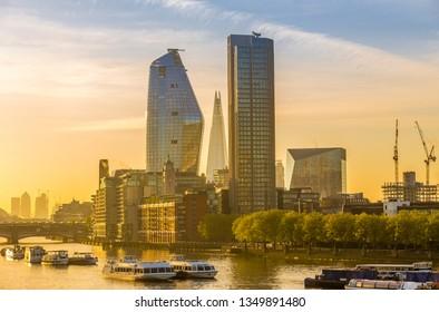 London, UK- 5, May 2018 - Skyscrapers in London at sunrise