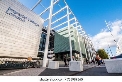 LONDON, UK - 5 OCTOBER 2017: Imperial College, London. A view of the modern facade to the London university of Imperial College known for its faculties in science, engineering, medicine and business.