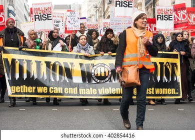 London, UK. 5th March 2016. EDITORIAL - The Million Women Rise protest march through the streets of central London. Hundreds of women unite, calling for an end to male violence against women.