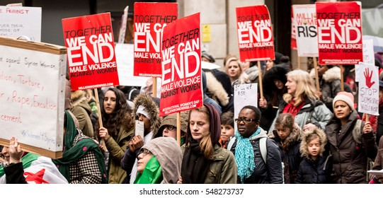 London, UK. 5th March 2016. EDITORIAL - Million Women Rise protest march through the streets of central London, making awareness and bringing an end to male violence against women in all it's forms.