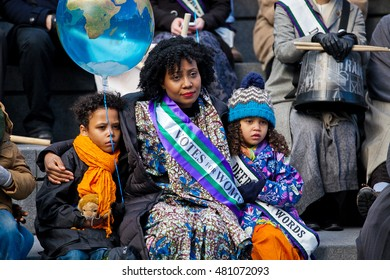 "London, UK 6 March 2016 Suffragettes, celebrities and politicians gather for a ""Walk In Her Shoes"" march organised by CARE International UK as part of solidarity with women and girls worldwide"