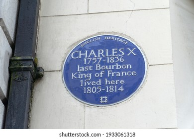 London, UK - 6 March 2021: Blue Plaque: Charles X, S Audley Street, Mayfair, London