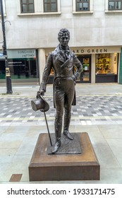London, UK - 6 March 2021: Beau Brummell Statue, Piccadilly Arcade, Jermyn Street, St James's, London