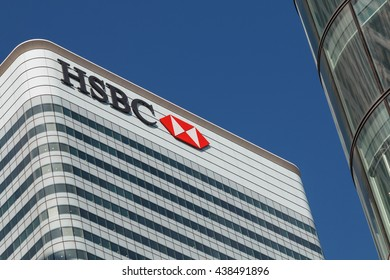 London, Uk - 6th April 2016:HSBC bank HQ in the city of London. HSBC is one of the UKs largest retail and investment banks.