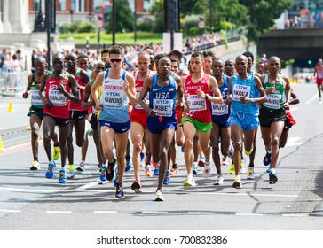 London, UK. 6th August, 2017. Callum Hawkins (front, left of centre)  from Great Britain leads the pack early in the Men's Marathon at the IAAF World Athletics Championships