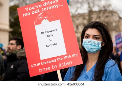 London, UK. 6th February 2016. EDITORIAL - Dr. Roshana Mehdian leads a rally through the streets of central London, in protest of government plans to change NHS junior doctor contracts.