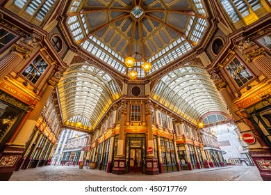 LONDON, UK - 6TH JULY 2016:  A low angle view of part of Leadenhall Market in the City of London in the morning.