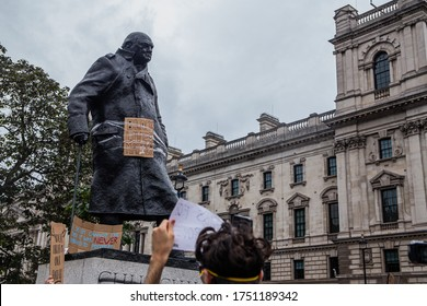 London / UK - 7 June 2020: Statue of Winston Churchill in London's Parliament Square is defaced for second day amidst Black Lives Matter protest