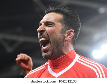 LONDON, UK - 7 MARCH, 2018:  Gianluigi Buffon of Juventus celebrates after during the UEFA Champions League R16 game between Tottenham Hotspur and Juventus at Wembely Stadium.