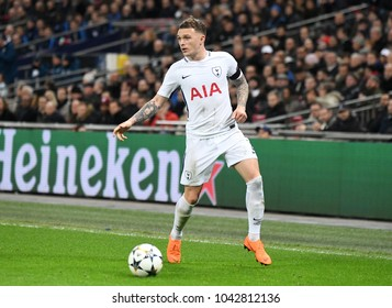 LONDON, UK - 7 MARCH, 2018: Kieran Trippier of Tottenham pictured during the UEFA Champions League R16 game between Tottenham Hotspur and Juventus at Wembely Stadium.