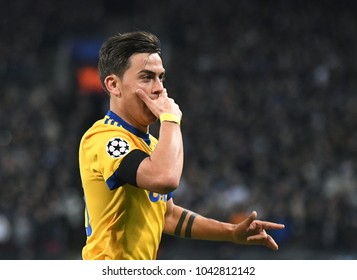 LONDON, UK - 7 MARCH, 2018: Paulo Dybala of Juventus pictured during the UEFA Champions League R16 game between Tottenham Hotspur and Juventus at Wembely Stadium.