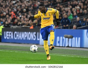 LONDON, UK - 7 MARCH, 2018: Kwadwo Asamoah of Juventus pictured during the UEFA Champions League R16 game between Tottenham Hotspur and Juventus at Wembely Stadium.