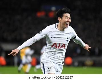 LONDON, UK - 7 MARCH, 2018: Heung-Min Son of Tottenham celebrates after he scored a goal during the UEFA Champions League R16 game between Tottenham Hotspur and Juventus at Wembely Stadium.