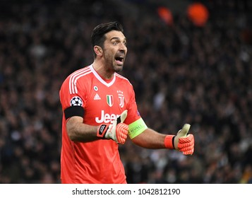 LONDON, UK - 7 MARCH, 2018: Gianluigi Buffon of Juventus pictured during the UEFA Champions League R16 game between Tottenham Hotspur and Juventus at Wembely Stadium.