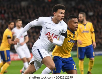 LONDON, UK - 7 MARCH, 2018: Dele Alli of Tottenham pictured during the UEFA Champions League R16 game between Tottenham Hotspur and Juventus at Wembely Stadium.