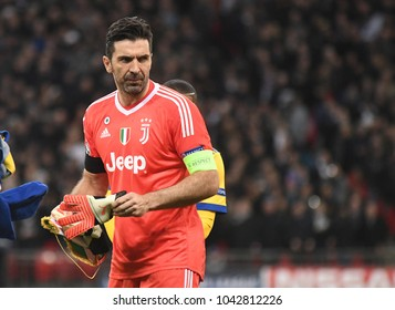 LONDON, UK - 7 MARCH, 2018: Gianluigi Buffon of Juventus pictured prior to the UEFA Champions League R16 game between Tottenham Hotspur and Juventus at Wembely Stadium.