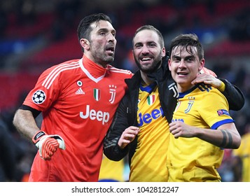 LONDON, UK - 7 MARCH, 2018: Buffon, Higuain and Dybala pictured after the UEFA Champions League R16 game between Tottenham Hotspur and Juventus at Wembely Stadium.