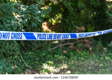 London / UK - 7/2/17:   Crime scene -  surrounded by blue police line near London in Kent, by British Police