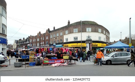 LONDON/ UK- 7th DECEMBER 2018: Traditional markets and high street shops, like these in Barking town centre, London, are struggling to cope with competition from new superstores, and online shopping.