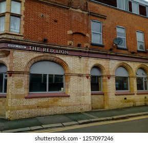 LONDON/ UK- 7th December 2018: Over the last 10 years, 11,000 UK pubs, like the Red Lion in Barking, London, have closed for the last time, because they cannot compete with the new megabar/restaurants