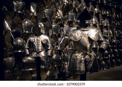 London, UK - 7th June 2017: Suits of armour and a display of breastplates in the Armoury of the Tower of London.