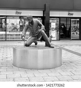 London, UK - 7th June 2019: Captain Matthew Flinders, Australian explorer, bronze life size statue outside Euston Station.