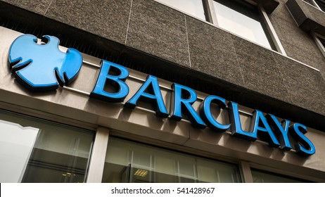 LONDON, UK - 8 MARCH 2015: Barclays Bank, London. Visible shop-front branding of the high street UK bank, Barclays.