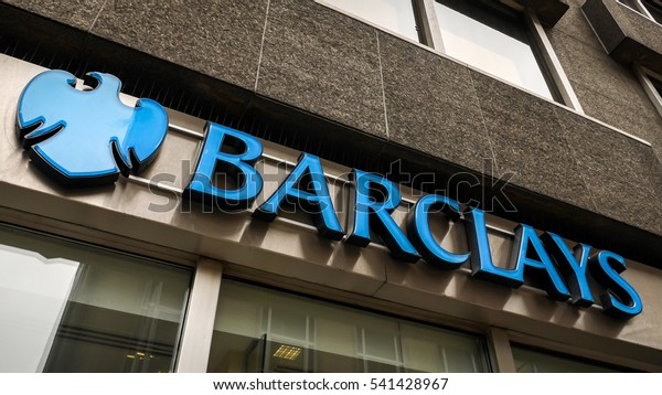 LONDON, UK - 8 MARCH 2015: Barclays Bank sign. Graphic shop-front logo branding for the UK high street retail bank, Barclays.
