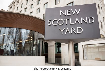 LONDON, UK - 8 MARCH 2017: The iconic New Scotland Yard sign, the home of the London Metropolitan Police, on its new site on Victoria Embankment, Westminster.