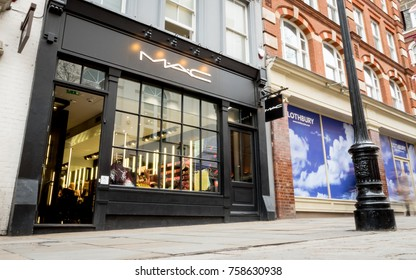LONDON, UK - 8 MARCH 2017: Mac shop, Covent Garden, London. High street cosmetic and make-up brand, Mac, on a pedestrianised street near Covent Garden, London.