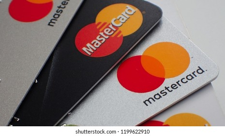 London, UK - 8 October 2018: Close up of a pile of mastercard credit load debit bank cards.