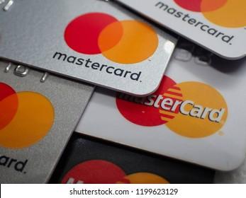 London, UK - 8 October 2018: Close up of a pile of mastercard credit load debit bank cards.