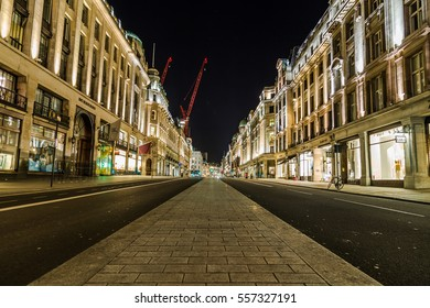 LONDON, UK - 8TH MARCH 2015:  Regent Street in central London at night showing the architecture and outside of buildings.