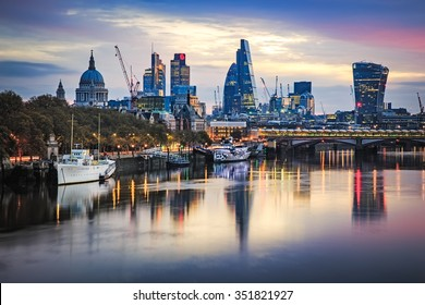 LONDON, UK - 8TH NOVEMBER 2015 : Part of the London Skyline at sunrise showing buildings in central London including, Tower 42 Gherkin,Willis Building, Stock Exchange Tower and Lloyd`s of London.