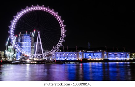London, UK – 9 December, 2017: Night view of London Eye