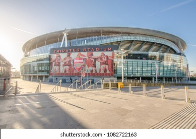 London, UK – 9 December, 2017: Outside view of Emirates Stadium, the home ground for Arsenal Football Club.