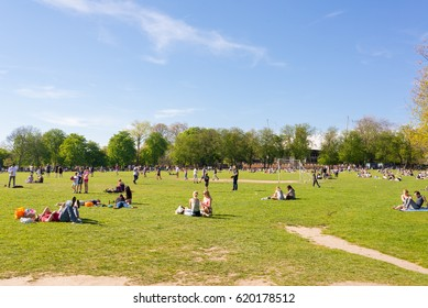 London, UK. 9th April 2017. People enjoying the sunny warm day in Holland Park, Kensington and Chelsea, London, UK.