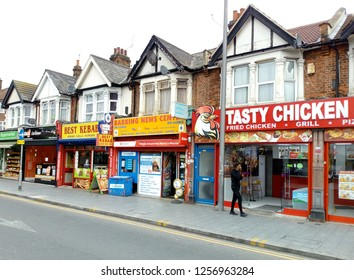 LONDON/ UK- 9th December 2018: Traditional high street shops like these in Barking, London, are struggling to compete for customers, with the new superstores and malls.