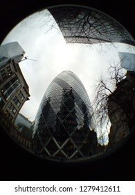 LONDON/ UK- 9th January 2019: Fisheye lens view of the famous Gherkin building, in London's financial district.
