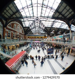 LONDON/ UK- 9th January 2019: Fish eye lens veiw of London's famous Liverpool Street station