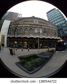 LONDON/ UK- 9th January 2019: Fish eye lens view, of the entrance to Fenchurch street train station, in central London.