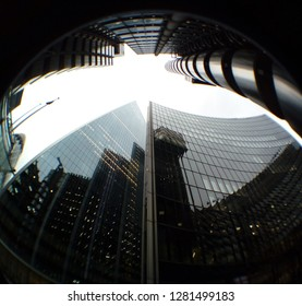 LONDON/ UK- 9th January 2019: Fish eye lens view of modern skyscrapers, in central London's financial district.