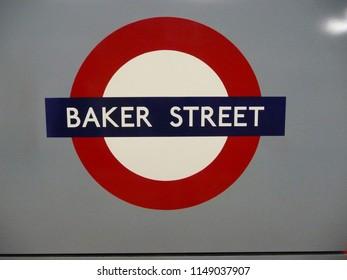 London, UK - 9th November 2013: Underground Baker Street Sign