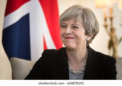 LONDON, UK - Apr 10, 2017: Prime Minister of the United Kingdom Theresa May smiling during an official meeting with the President of Ukraine Petro Poroshenko at 10 Downing Street in London