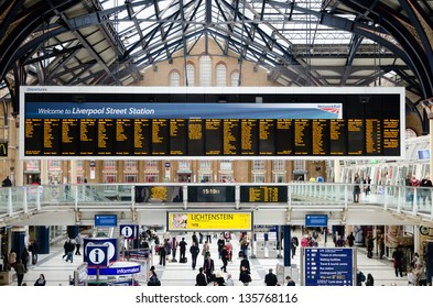 LONDON, UK - APR 17: London Liverpool Street station on April 17, 2013 in London, UK. Opened in 1874, it now a major transport hub serving over 55 million passengers a year.