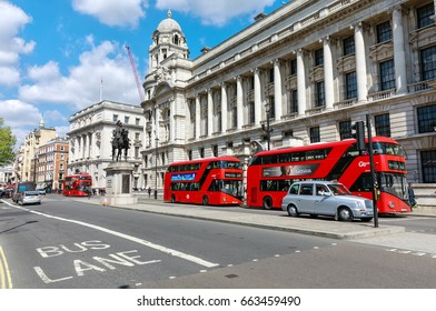 LONDON, UK - Apr 19, 2017: Streets of London. Field Marshal, His Royal Highness, Duke of Cambridge, Whitehall, Westminster, London