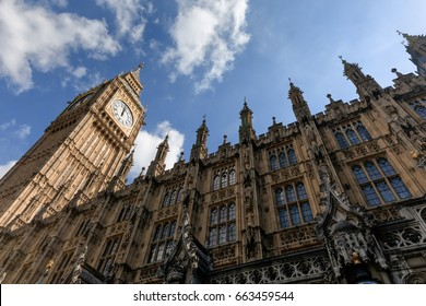 LONDON, UK - Apr 19, 2017: Big Ben (Elizabeth Tower) stands at the north end of the Palace of Westminster the meeting place of House of Commons and House of Lords, two houses of the Parliament of UK