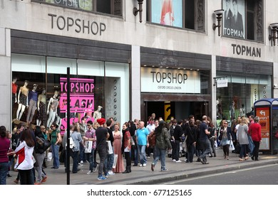 London, UK, Apr 2, 2011 : Topshop clothing store outlet at a busy time in Oxford Street